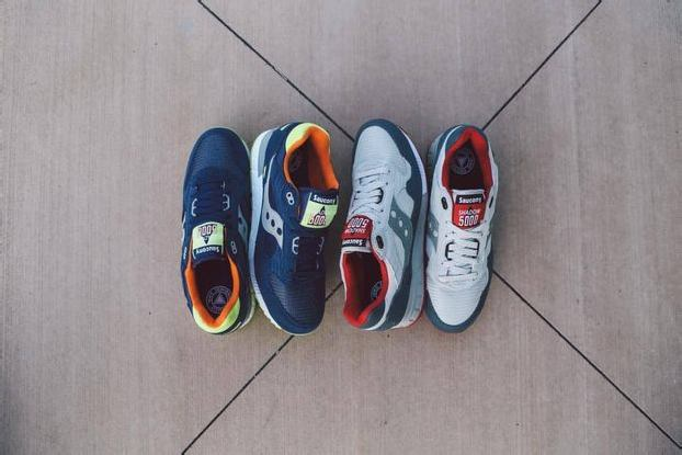 SAUCONY SHADOW 5000 – BLUE/CITRON + GREY/RED
