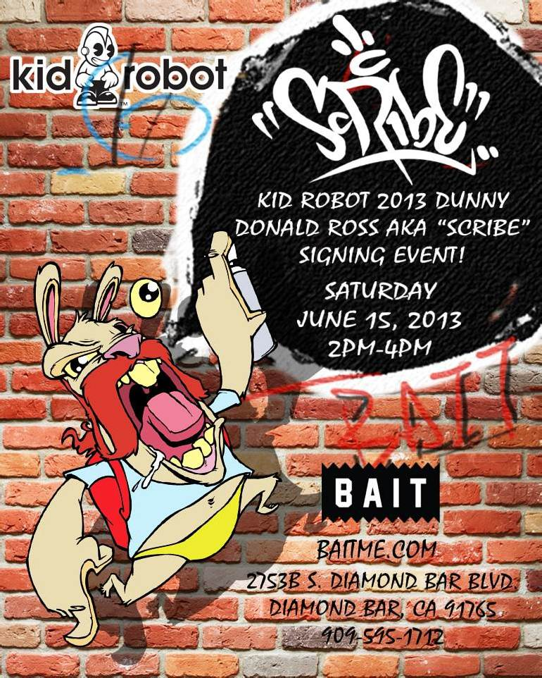 BAIT x Kidrobot Dunny Series 2013 – Artist Signing Event with Scribe