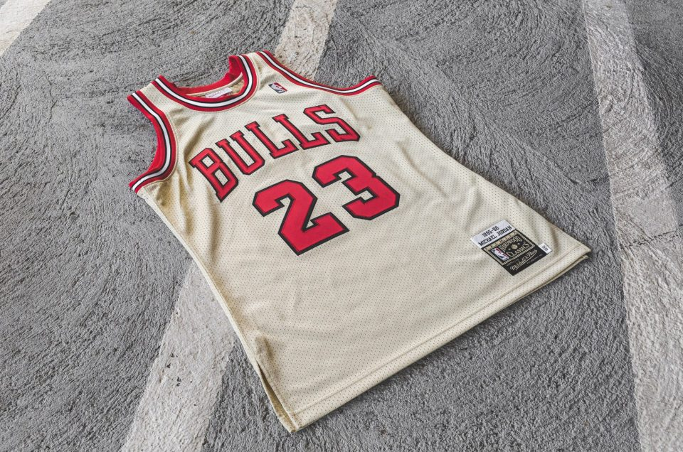 the latest f4ff0 e70ad MITCHELL AND NESS CHICAGO BULLS MICHAEL JORDAN GOLD JERSEY ...