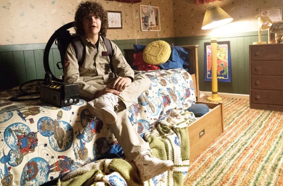 Dustin from Stranger Things in the BAIT x Stranger Things x Reebok x Ghostbusters Shoe