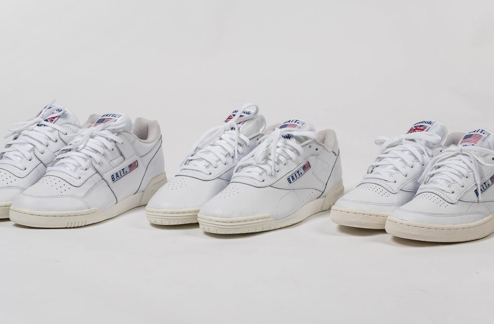 "BAIT x Reebok Classics Exofit Lo, Workout, and Club C ""West East"" Pack"